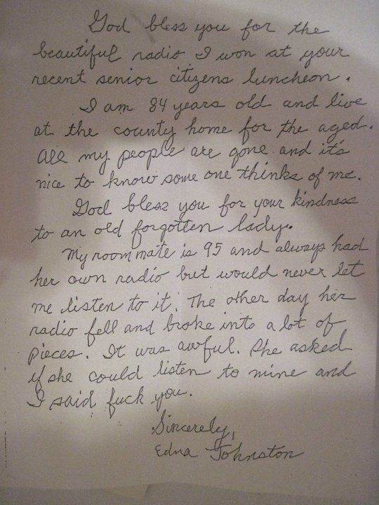 Aw, cute thank you letter from Grandma. [wait for it] | blah