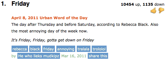 urban dictionary word of the day definition friday urban dictionary definition of the day friday blah blah blah