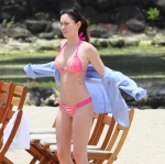 Megan Fox in brand new pink bikini in Hawaii while on Fathers Day.