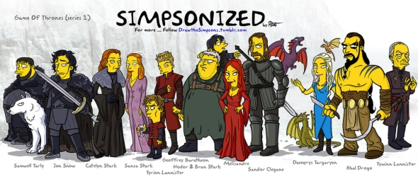 Game of thrones cast simpson character cartoon