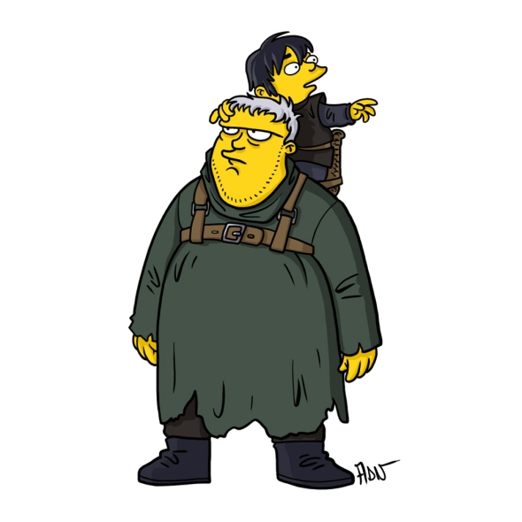 Hodor and Bran Stark simpson character cartoon